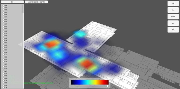 可視化された位置データ:正確な現在位置の推定、指定した日付や時間帯での移動軌跡、滞在場所や時間が、対象者ごとに区分した色のグラデーションで表示される。
