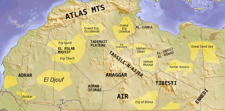 Mappa delle caratteristiche topografiche del Sahara (wikipedia)