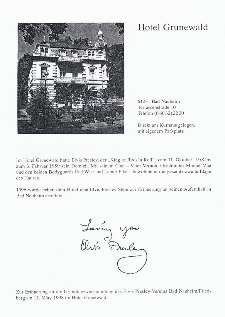 """""""Gastgeberein Rita Issberner-Haldane hatte eine Unterschrift von Elvis aus einem Brief kopiert und verteilte diese an die Anwesenden"""""""