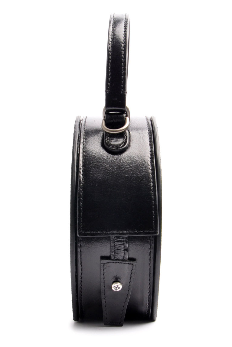 rund Damen Tasche GRETA  Retro Leder schwarz OSTWALD Traditional Craft Handarbeit
