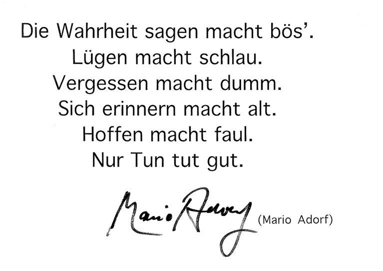 Statement Mario Adorf nebst Unterschrift zu seinem Fingerabdruck Porträt von Michael Franck