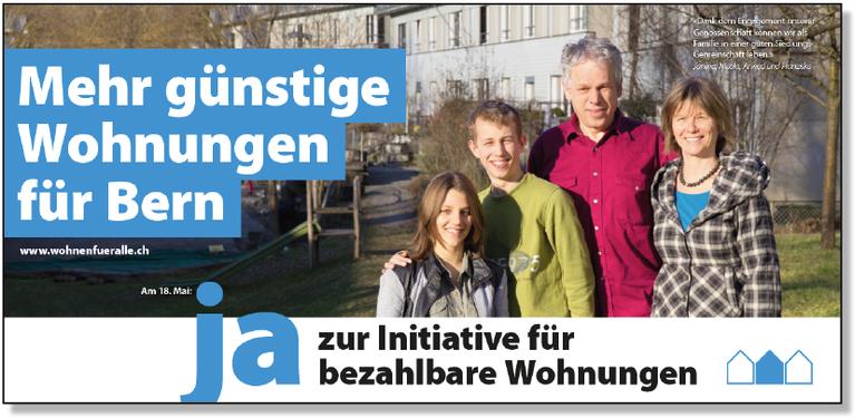 Abstimmungsplakat Wohn-Initiative Bern (Wohnen für alle)