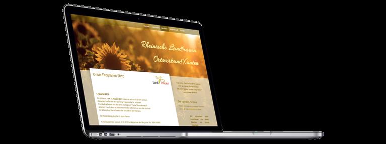 Erstellte Homepage der Rheinischen Landfrauen Xanten auf Laptop