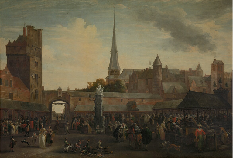 "Hendrik van Minderhout, ""Mercato del pesce, Anversa"" (1650-1696)"