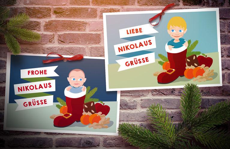 Illustration von individuellen Nikolauskarten