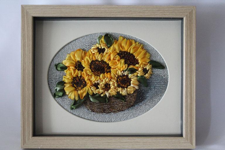 """Bild  """"Sonnenblumen"""" Bild mit Stickerei Satinbänderstickerei Bild mit 3D-Rahmen"""