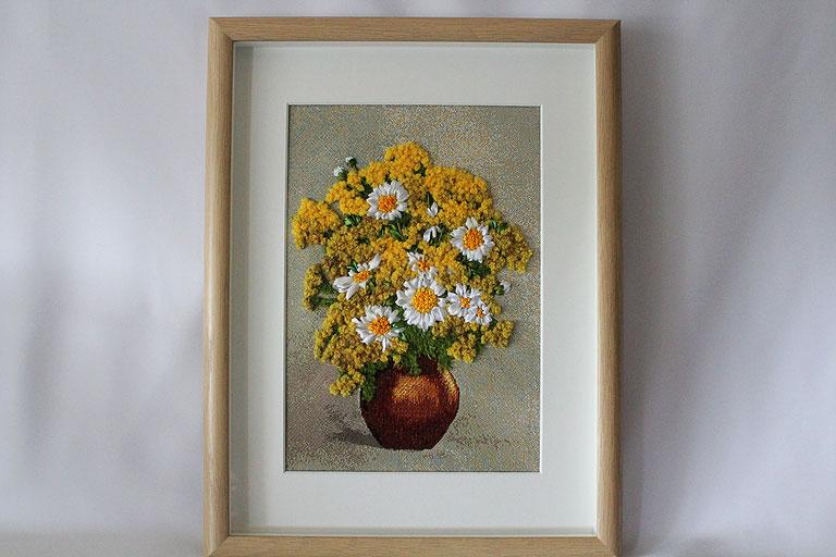 """Bild  """"Bunte Blumen in Vase"""" Bild mit Stickerei Satinbänderstickerei Bild mit 3D-Rahmen"""