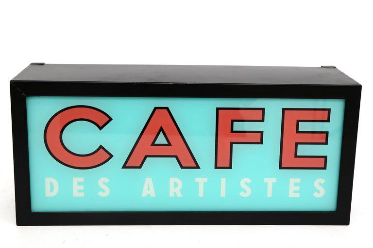 Cafe des Artistes Nostalgie Leuchtschild Paris Einrichtung Retro Dekoration Leuchtkasten als Cafedisplay mit Hintergrundbeleuchtung als Wandsymbol