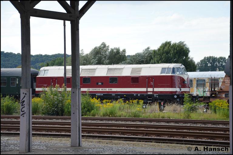 In Nossen wurde der Zug sehnsüchtig erwartet. Jedoch kündigte er sich mit etwas Verspätung an. Genaueres wusste man nicht. Also zunächst mal 228 501-3 im neuen Lack knipsen