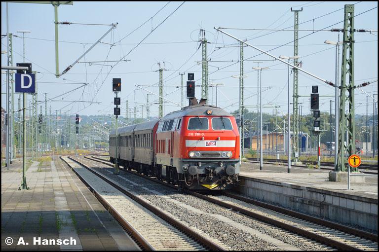 Aus Richtung Borna (b. Leipzig) kommend, fährt der Zug in Chemnitz Hbf. ein