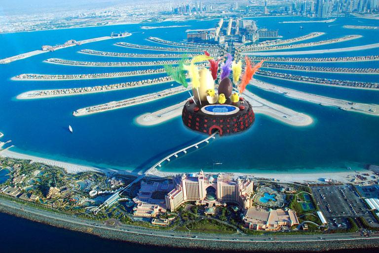Mona als Emirats. L'emir de Dubai, Mohamed bin Rashid Al Maktoumen, encarrega a Frank Ghery la construcció d´un nou mòdul de vivendes a Palm Jumeirah Island. Ha volgut inaugurar-lo el Dilluns de Pasqua.