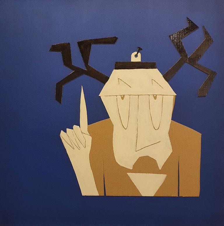 Cardboard Art Bild eines Mannes mit Geweih, als Wandtrophäe