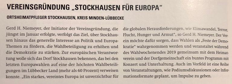 """Bericht über die Vereinsgründung (""""Heimat Westfalen"""" (Verbandszeitschrift des Westfälischen Heimatbundes), Ausgabe 1/2018, S. 34)"""