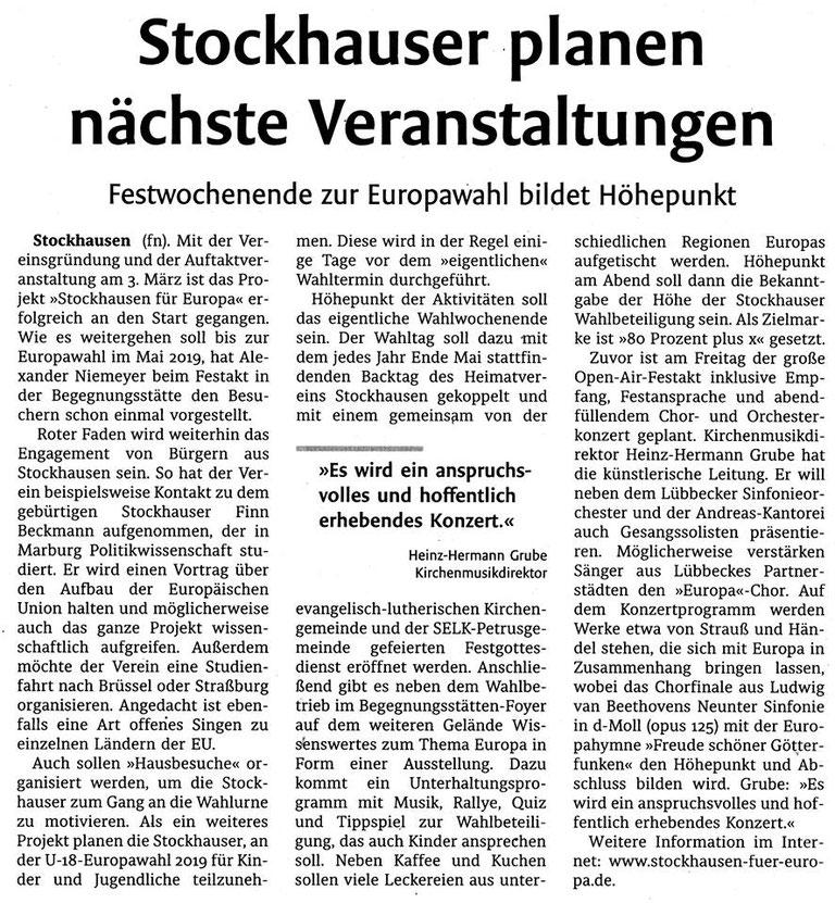 """Artikel zu """"Stockhausen für Europa"""" (Lübbecker Kreiszeitung (Westfalen-Blatt), Lokalteil Lübbecke, Mo., 12.03.2018)"""