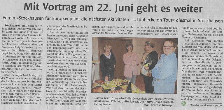 Bericht über den ersten Stockhauser Europa-Treff (Lübbecker Kreiszeitung (Westfalen-Blatt), Lokalteil Lübbecke, 30.04.2018)