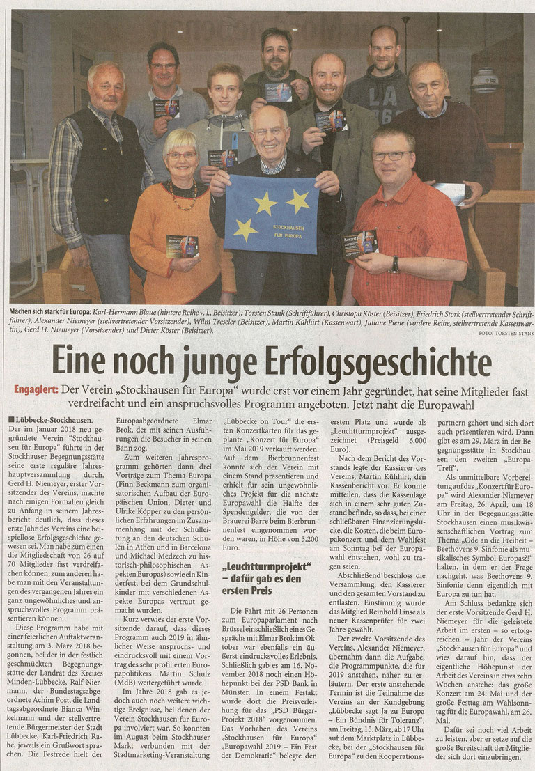 """Bericht über die Jahreshauptversammlung von """"Stockhausen für Europa"""" am 1. März 2019 (Neue Westfälische, Lokalteil Lübbecke, 06.03.2019)"""