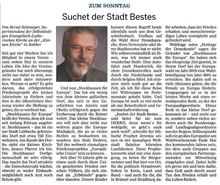 """Artikel zu """"Stockhausen für Europa"""" (Wittlager Kreisblatt, Rubrik """"Zum Sonntag"""", Sa., 17.03.2018)"""