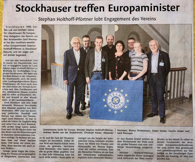 Bericht über den SfE-Besuch beim NRW-Europaminister in Düsseldorf (Lübbecker Kreiszeitung (Westfalen-Blatt), Lokalteil Lübbecke, 27. April 2019)