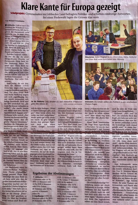 Bericht über das schulübergreifende Europa-Projekt an den drei Altkreis-Gymnasien Lübbecke, Espelkamp und Rahden am 5. April 2019 (Neue Westfälische, Lokalteil Lübbecke, 9. April 2019)