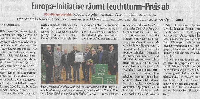 """Bericht über den Erfolg von """"Stockhausen für Europa"""" beim """"PSD BürgerProjekt 2018"""" (Neue Westfälische, überregionale Rubrik """"Zwischen Rhein und Weser"""", 20.11.2018)"""