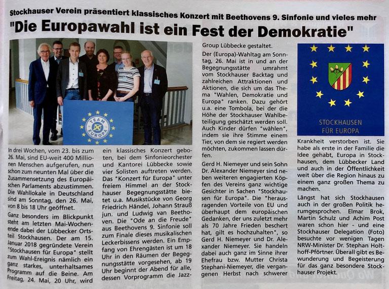 """Vorbericht über das Stockhauser """"Europawahlfest der Demokratie"""" (Stadtgespräch – Magazin für das Lübbecker Land, 05/2019, S. 3)"""