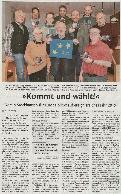 """Bericht über die Jahreshauptversammlung von """"Stockhausen für Europa"""" am 1. März 2019 (Lübbecker Kreiszeitung (Westfalen-Blatt), Lokalteil Lübbecke, 04.03.2019)"""