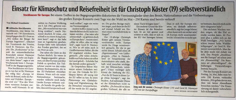 Bericht über den 2. Stockhauser Europa-Treff am 29. März 2019 (Neue Westfälische, Lokalteil Lübbecke, 1. April 2019 => Kein Aprilscherz !!!)