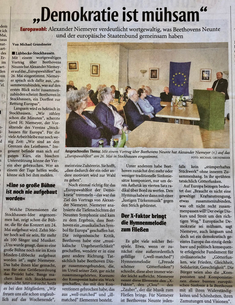 Bericht über den Beethoven-/Europa-Vortrag von Vereinsmitglied Dr. Alexander Niemeyer in Stockhausen (Neue Westfälische, Lokalteil Lübbecke, 3. Mai 2019)