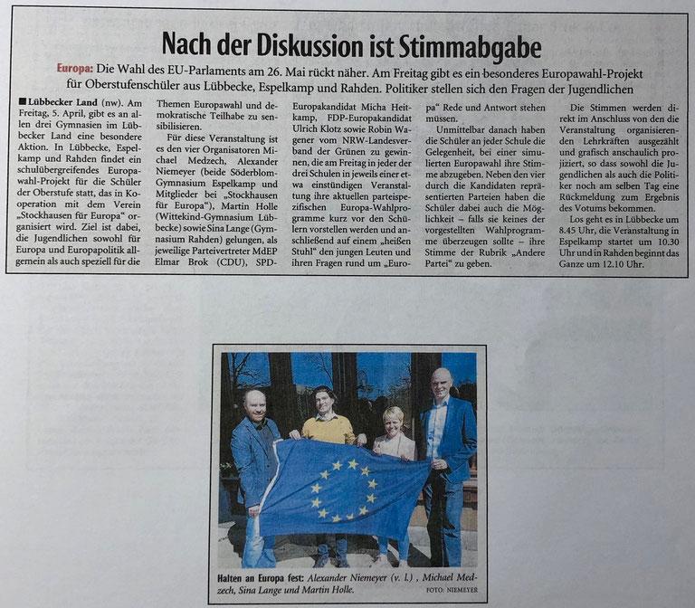 Vorbericht über das schulübergreifende Europa-Projekt an den drei Altkreis-Gymnasien Lübbecke, Espelkamp und Rahden am 5. April 2019 (Neue Westfälische, Lokalteil Lübbecke, 3. April 2019)