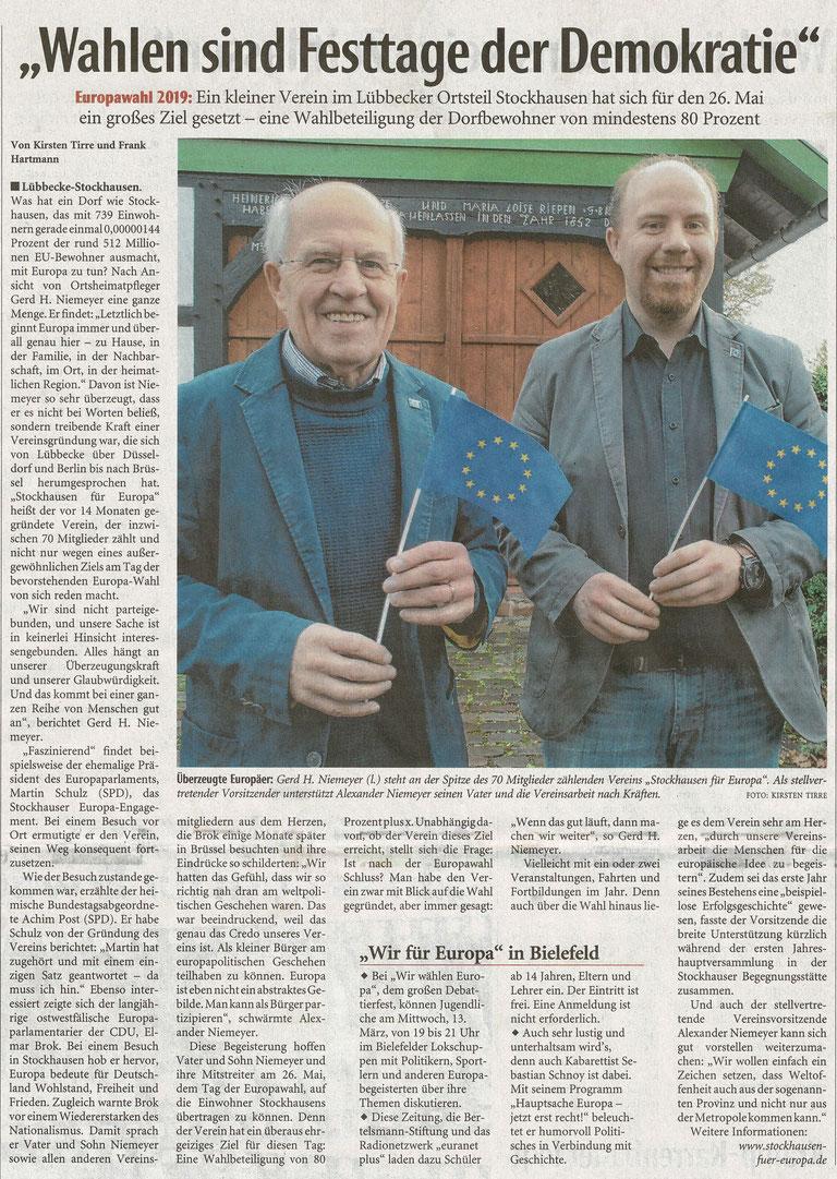 """Allgemeiner Artikel über den Verein """"Stockhausen für Europa"""" (Neue Westfälische, überregionale Rubrik """"Zwischen Rhein und Weser"""", 11.03.2019)"""