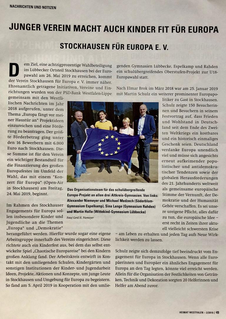 """Allgemeiner Bericht über """"Stockhausen für Europa"""", insb. die Jugendarbeit unseres Vereins (""""Heimat Westfalen"""" (Verbandszeitschrift des Westfälischen Heimatbundes), Ausgabe 2/2019, S. 49)"""