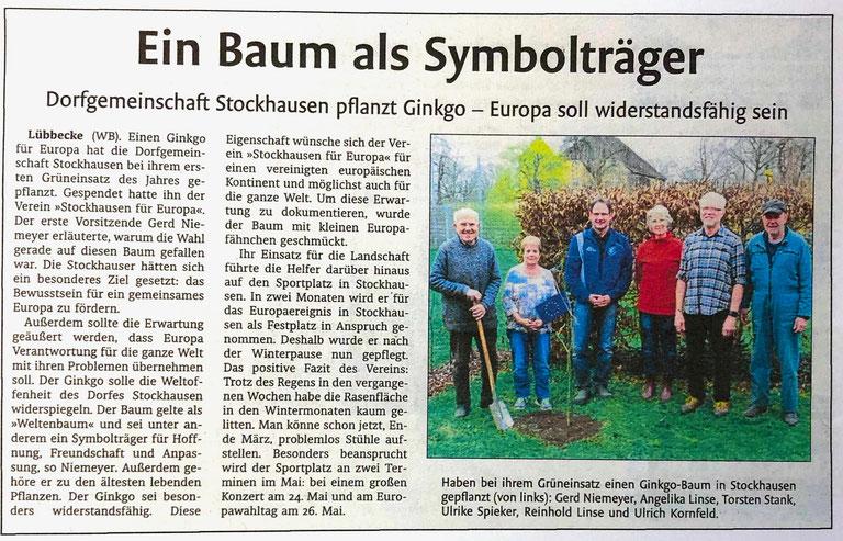 Bericht über die Pflanzung des Stockhauser Europa-Ginkgos (Lübbecker Kreiszeitung (Westfalen-Blatt), Lokalteil Lübbecke, 26. März 2019)