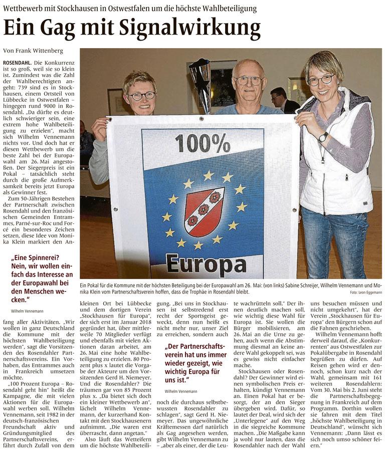 Bericht über den Wahlbeteiligung-Wettbewerb mit Rosendahl (Allgemeine Zeitung (= Billerbecker Anzeiger / Gescherer Zeitung), Lokalteil Rosendahl, 13. April 2019)