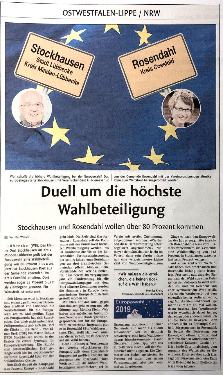 Bericht über den Wahlbeteiligung-Wettbewerb mit Rosendahl (Lübbecker Kreiszeitung (Westfalen-Blatt), Ostwestfalen-Lippe/OWL, 26. März 2019)