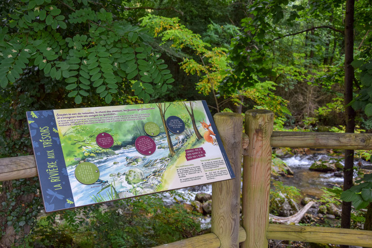 panneau pédagogique, panneau d'interprétation, table de lecture, biodiversité, rivière, illustration, ludique, interactif, nature, parc, site, naturel