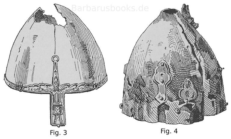 Helm des Herzogs Wenzeslaus des Heiligen von Böhmen (ermordet 938) Fig. 4. Helm aus getriebenem Kupfer, aus zwei getrennten Hälften bestehend, die zusammengenietet sind.