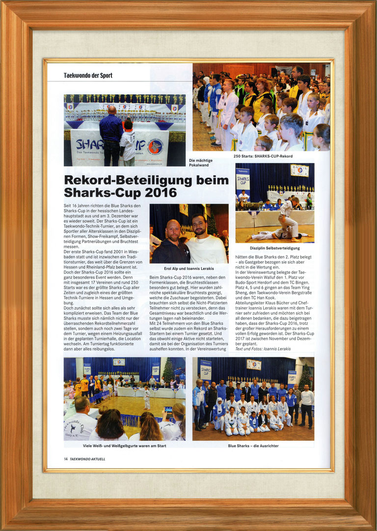 """Taekwondo Aktuell"", the first TAEKWONDO MAGAZINE in the WORLD, 41. Jahrgang, Januar 2017, Nr. 1, Seite 14, Foto von Erol Alp und Chief Instructor Ioannis Lerakis, Blue Sharks Taekwondo Wiesbaden, Bericht über Sharks-Cup 2016"