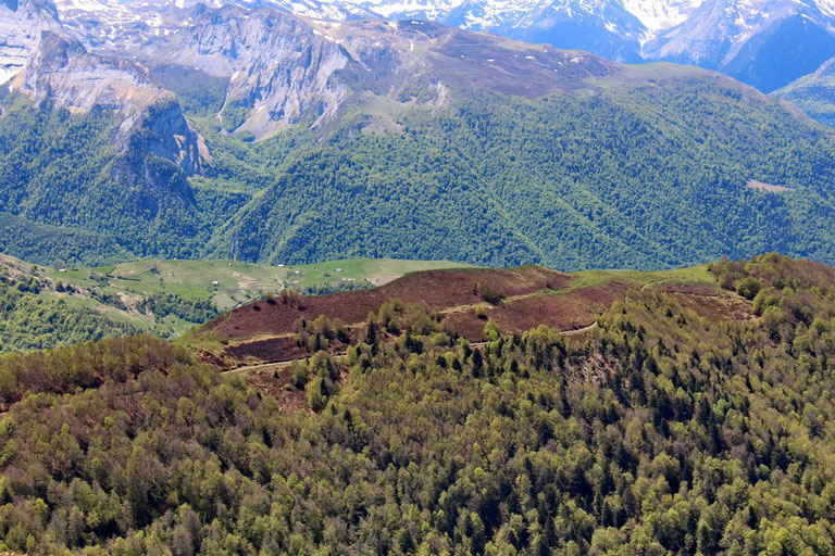 Au dessus de la piste, la crête du Turon de Luzé.