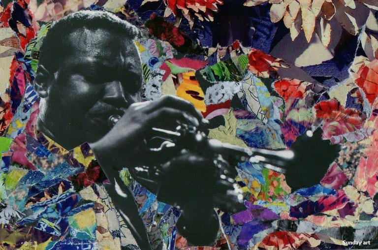 TRUMPETER © SUNDAY ART WORK - PAPER COLLAGE HANDMADE - JAZZ MUSICIAN WALLACE RONEY.
