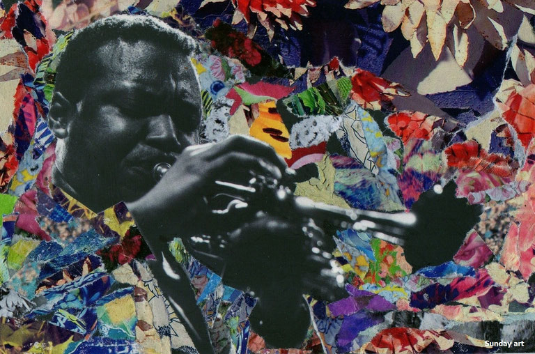 TRUMPETER © SUNDAY ART WORK - PAPER COLLAGE HANDMADE / NO PHOTOSHOP - JAZZ MUSICIAN WALLACE RONEY.