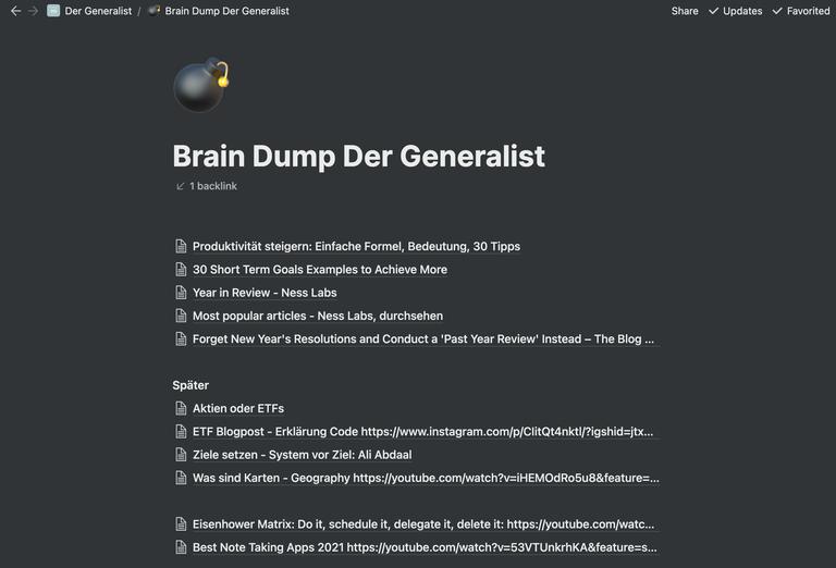 Screenshot des 'Brain Dump' von der Generalist