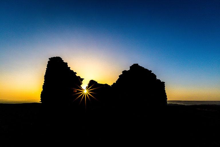 Sun star at English mountain at Bahariya Oasis in Egypt