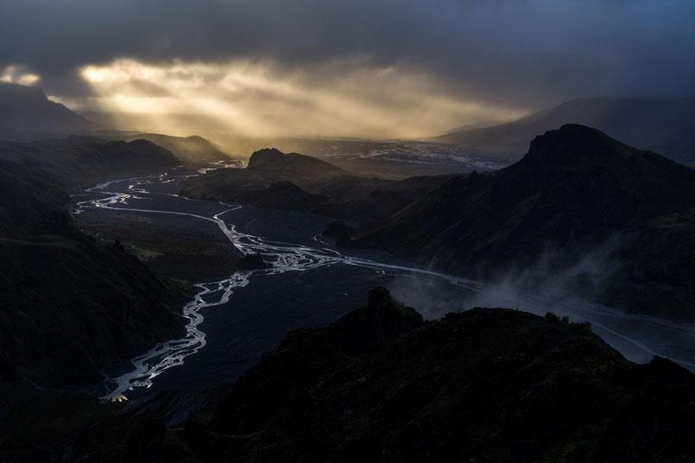 Þórsmörk valley in Iceland at sunset