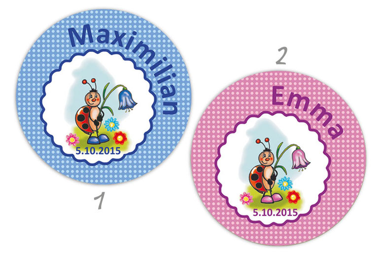 personalisierbare Babyaufkleber mit niedlichen Marienkäfer mit Glockenblume, personalisierbar mit Wunschtext - zur Geburt, Babyshower, Gastgeschenke, Einladungen, Dankesbriefe