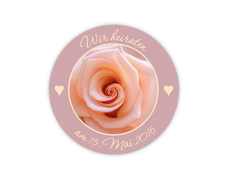 personalisierbare Hochzeitsaufkleber mit Foto - Rose - für Verlobungen, Hochzeiten, Familienfeiern, Gastgeschenke, Einladungen, Dankesbriefe