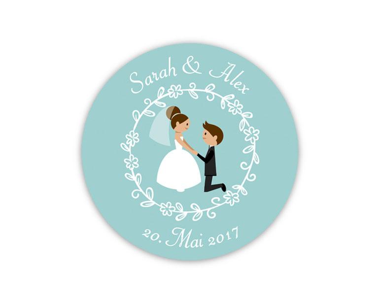 personalisierbare Hochzeitsaufkleber -  Brautpaar - für Verlobungen, Hochzeiten, Familienfeiern, Gastgeschenke, Einladungen, Dankesbriefe
