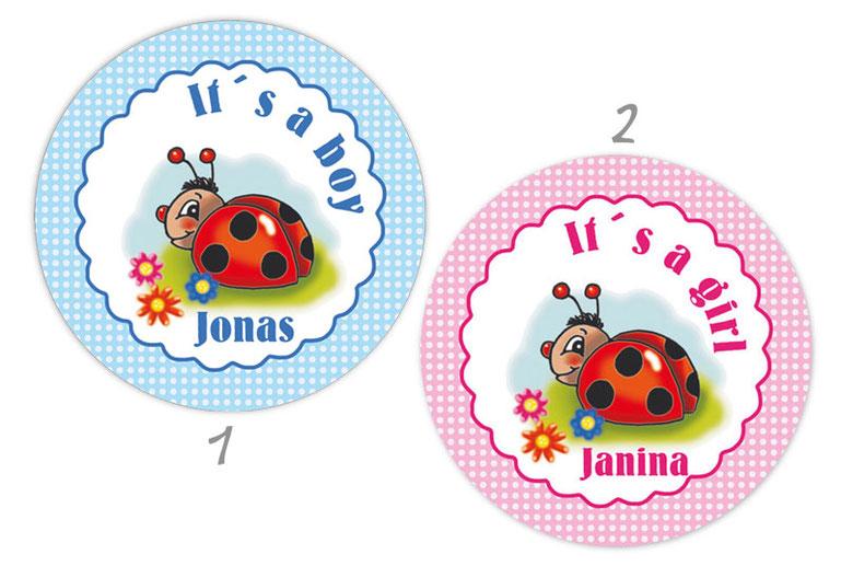 personalisierbare Babyaufkleber mit niedlichen Marienkäfer mit Blümchen, personalisierbar mit Wunschtext - zur Geburt, Babyshower, Gastgeschenke, Einladungen, Dankesbriefe