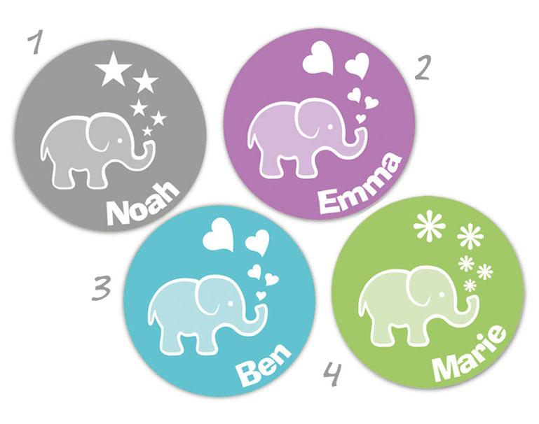 personalisierbare Babyaufkleber mit niedlichen Elefanten, der aus seinen Rüssel Herzchen, Sternchen oder Blümchen auspustet,  personalisierbar mit Wunschtext - zur Geburt, Babyshower, Gastgeschenke, Einladungen, Dankesbriefe