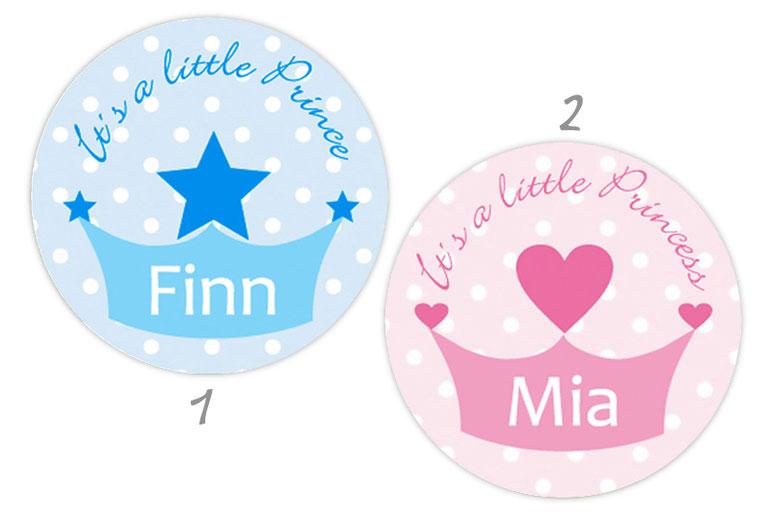 personalisierbare Babyaufkleber mit Herz oder Stern, personalisierbar mit Wunschtext - zur Geburt, Babyshower, Gastgeschenke, Einladungen, Dankesbriefe