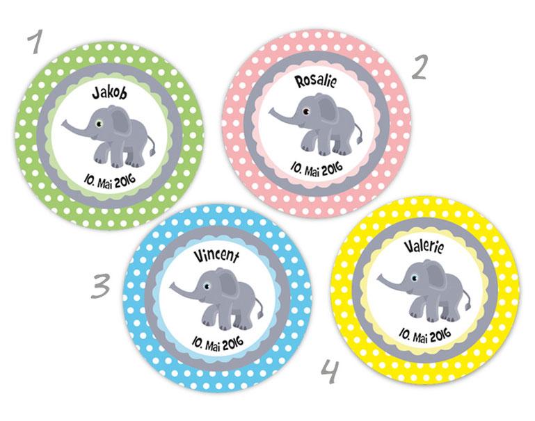 personalisierbare Babyaufkleber mit niedlichen Elefanten, personalisierbar mit Wunschtext - zur Geburt, Babyshower, Gastgeschenke, Einladungen, Dankesbriefe